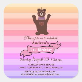 Bear Girl's  Birthday  Birthday Sticker