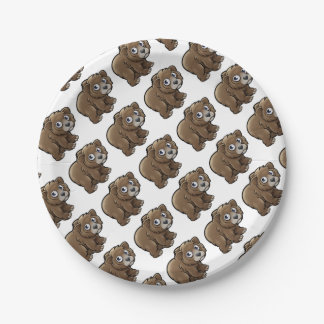 Bear Grizzly Animals Cartoon Character Paper Plate
