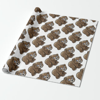 Bear Grizzly Animals Cartoon Character Wrapping Paper