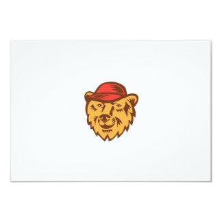 "Bear Head Wearing Hat Woodcut 3.5"" X 5"" Invitation Card"