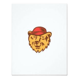 "Bear Head Wearing Hat Woodcut 4.25"" X 5.5"" Invitation Card"