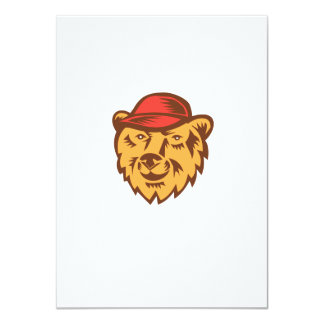 "Bear Head Wearing Hat Woodcut 4.5"" X 6.25"" Invitation Card"