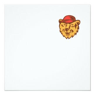 "Bear Head Wearing Hat Woodcut 5.25"" Square Invitation Card"