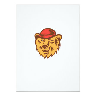 "Bear Head Wearing Hat Woodcut 5.5"" X 7.5"" Invitation Card"