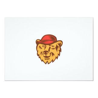 "Bear Head Wearing Hat Woodcut 5"" X 7"" Invitation Card"
