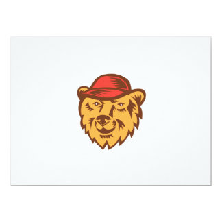 "Bear Head Wearing Hat Woodcut 6.5"" X 8.75"" Invitation Card"