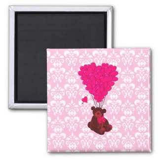Bear & heart balloons on pink damask magnet