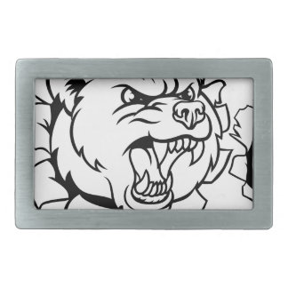 Bear Holding Bowling Ball Breaking Background Belt Buckles