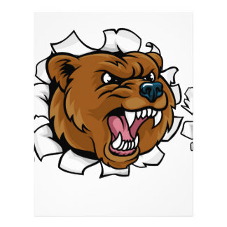 Bear Holding Bowling Ball Breaking Background Letterhead