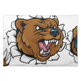 Bear Holding Bowling Ball Breaking Background Placemat