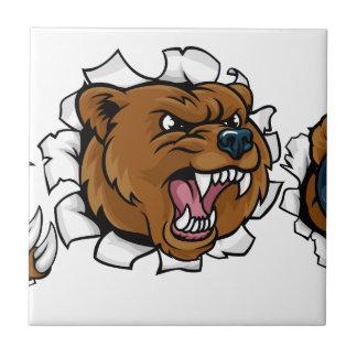 Bear Holding Bowling Ball Breaking Background Tile