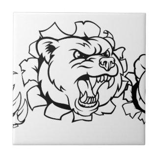 Bear Holding Tennis Ball Breaking Background Tile