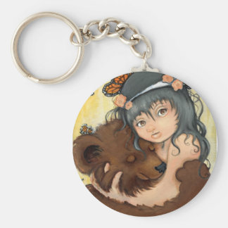 Bear Hug Basic Round Button Keychain