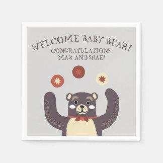 Bear Hug Couples Baby Shower Party Napkins Paper Napkins