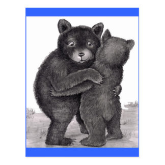 Bear Hug. Two bears hugging out in nature Postcard