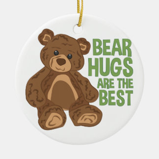 Bear Hugs Round Ceramic Ornament