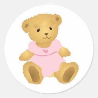 Bear in a Pink Dress Round Sticker