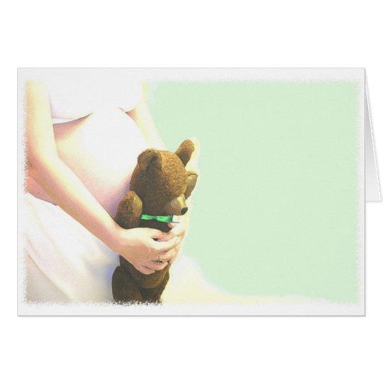 Bear in Big Green Ribbon Card