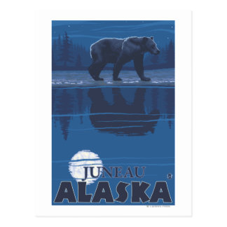 Bear in Moonlight - Juneau, Alaska Postcard