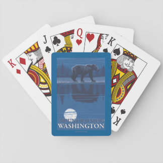Bear in Moonlight - Mount Rainier, Washington Poker Deck