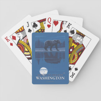 Bear in Moonlight - Mount St. Helens, Playing Cards