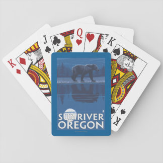 Bear in Moonlight - Sun River, Oregon Playing Cards