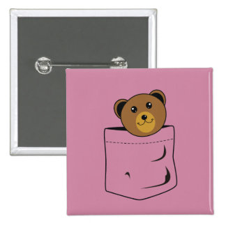 Bear in pocket 2 inch square button