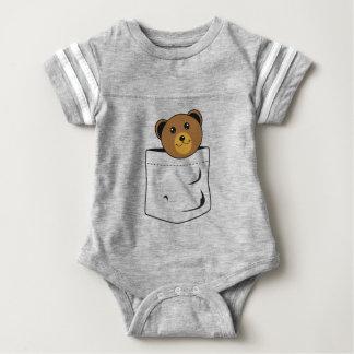 Bear in pocket baby bodysuit