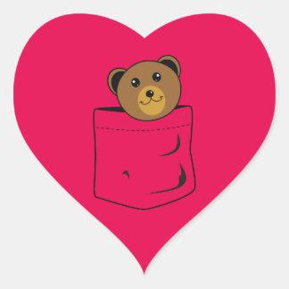 Bear in pocket heart sticker