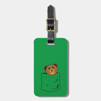 Bear in pocket luggage tag