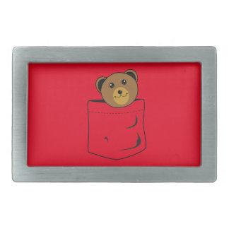 Bear in pocket rectangular belt buckle