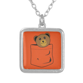 Bear in pocket silver plated necklace