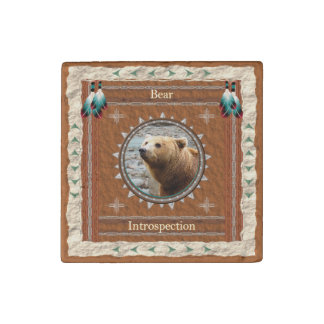 Bear -Introspection- Primed Marble Magnet