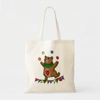 Bear juggling tote bag