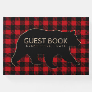 Bear Lumberjack Buffalo Plaid Guest Book