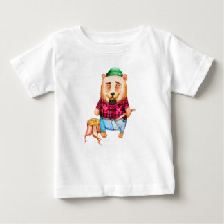 Bear-lumberjack watercolor illustration baby T-Shirt