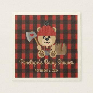 Bear Lumberjack Wilderness Themed Baby Shower Disposable Napkin