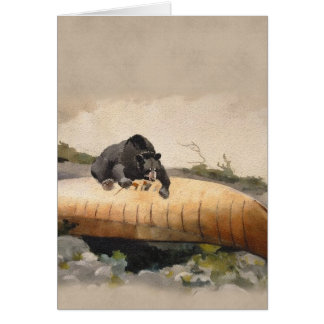 Bear on a Canoe at the River's Edge Blank Card