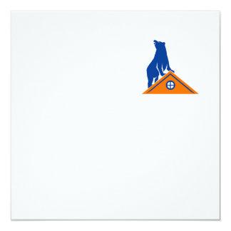 "Bear On Roof Isolated Retro 5.25"" Square Invitation Card"