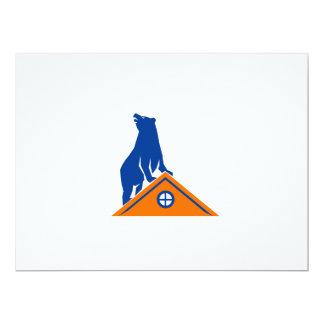 "Bear On Roof Isolated Retro 6.5"" X 8.75"" Invitation Card"