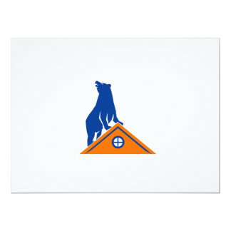 Bear On Roof Isolated Retro Card