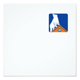 "Bear On Roof Rectangle Retro 5.25"" Square Invitation Card"