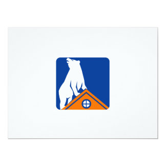 "Bear On Roof Rectangle Retro 6.5"" X 8.75"" Invitation Card"