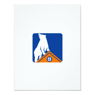 Bear On Roof Rectangle Retro Card