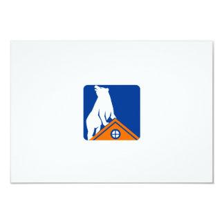 Bear On Roof Rectangle Retro Card