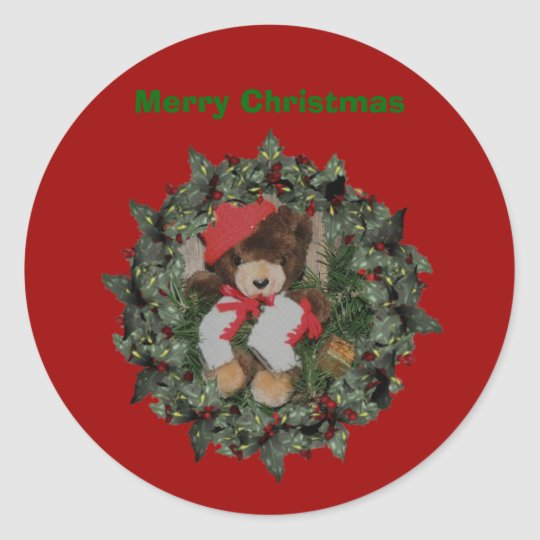 Bear On Wreath Christmas Holiday Sticker Label