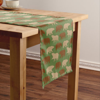 Bear Pattern Cabin Short Table Runner