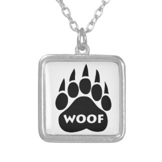 "Bear Paw Gay Pride""WOOF"" Necklace Square Pendant"
