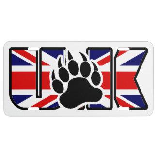 Bear Paw On U.K flag License Plate