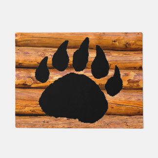 BEAR PAW PRINT AND LOGS DOORMAT